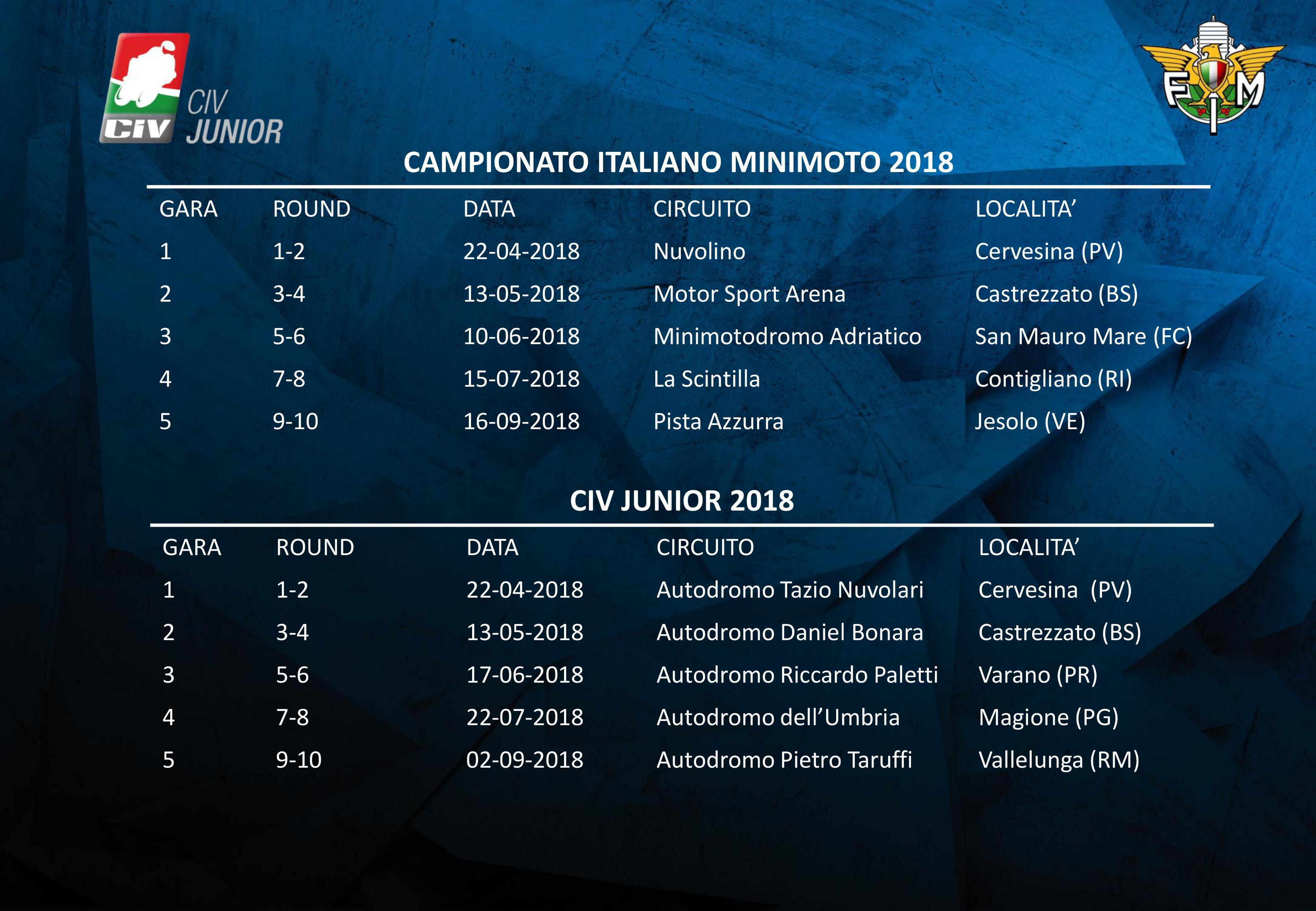 Civ Calendario.Civ Campionato Italiano Minimoto E Civ Junior I Calendari